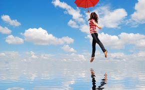 девушка, зонт, вода, облака