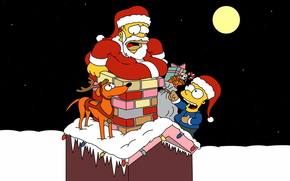 Simpsons, Christmas, Homer, Bart, dog, pipe, situation, New Year, Santa, garlands, snow, Winter, moon, Star, Icicles, Gifts, bag, Deer, Horn, mustache, beard, suit, stomach, Santa Claus, night, holiday, mood, wallpaper