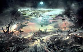 Creativity, fantasy, people, animals, tiger, crocodile, life, river, the world turned upside down, rocks, Trees