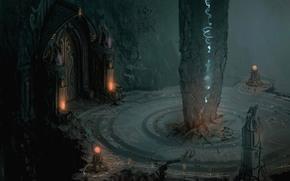 temple, lights, column