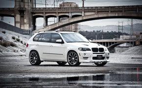 BMW, white, crossover, front end, bridge, pool, reflection, bmw