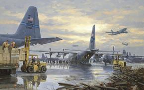 самолеты, солдаты, погрущик, ящики, военная база