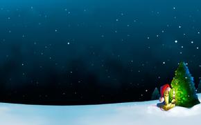 новый год, елка, снег, свеча, ночь, рисунок, Новый год