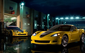 evening, lights, corvette, cars, machinery, Car