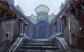 лестница, двери, шары