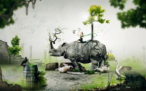 animals, girl, tree