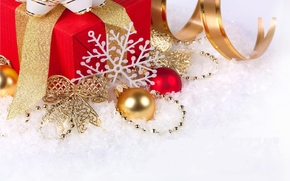 New Year, holiday, Gifts, tape, Christmas Toys, Jewelry, Balls, bow, snowflake, snow, New Year
