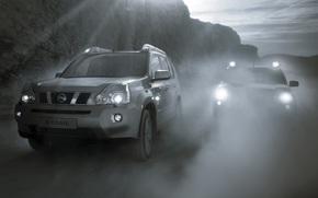туман, дым, горы, горная дорога, скорость, сумерки, противотуманные фары, серые, два, Nissan