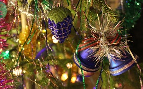 New Year, holiday, Bells, Tree, tinsel, rain, shine, tinsel, Ribbons, New Year