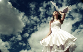 bride, feathers, clouds