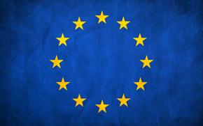европа, флаг, звезды, синий