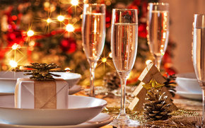 brillar, Las luces de Navidad, gafas, Champn, golpear, rbol, espina de pescado, regalo, fiesta, Ao Nuevo