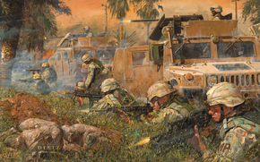 Soldiers, war, Hammer, city, shooting