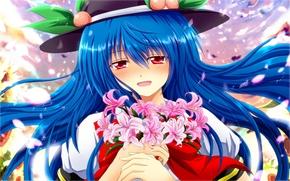 Touhou, hinanawi tenshi, dziewczyna, bukiet