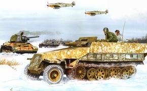 рисунок, снег, самолеты, танк, бронетранспортёр, вермахт, немцы