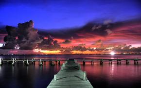 sky, clouds, clouds, sunset, evening, lights, wharf, pier