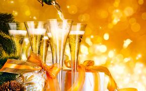 pika, Balls, pikny, pikno, butelka, Szampan, Boe Narodzenie, Christmas Ball, Bombki choinkowe, Ozdoby choinkowe, Prezenty, kolorowy, kolor, zdobnictwo, szko, Szko, Happy Holidays, Szczliwego nowego roku, wito, adny, magia, M