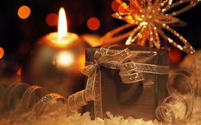 New Year, holiday, New Wallpaper, scenery, candle, gift, tape, snowflake, lights, New Year