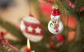новый год, праздник, новогодние обои, декорации, игрушки, снеговик, ёлка, Новый год