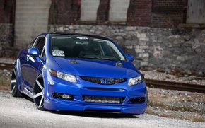 Honda, Civic, blue, Tuning, honda