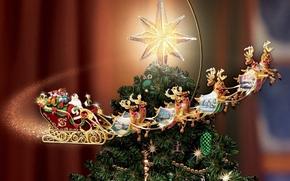 新年, 枞树, 明星, 鹿, 雪橇, 新年