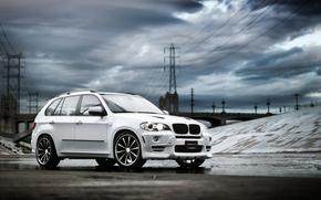 BMW, SUV, bianco, nuvole, BMW