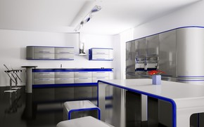 interior, room, apartment, kitchen, table, chairs, Flowers, lockers, Shelves, blue