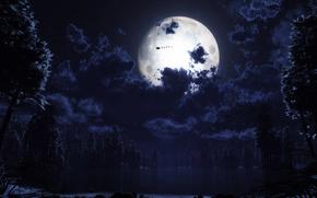 forest, moon, Santa