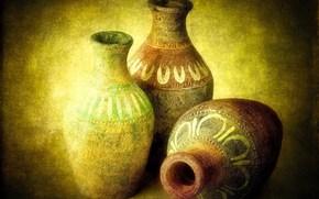 глиняные, кувшины, древность, антиквариат