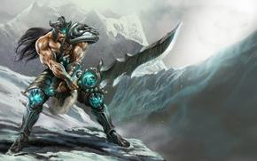 Mountains, man, sword, weapon, Warrior, snow, armor
