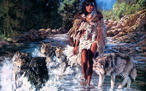 penni anne krzy, dziewczyna, Wolves, rzeka, Sztuka