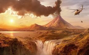 вертолет, вулкан, водопад