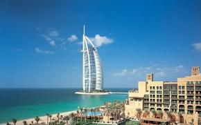 Dubai, Emiraty Arabskie, miasto, niebo, chmury, budynek, morze, rzeka, woda