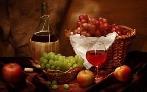 wine, bottle, goblet, grapes, basket, apples, cork, still life