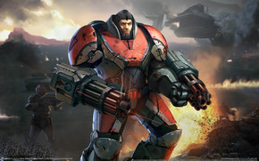 Warrior, suit, armor, weapon, ship, Explosions, stones, fire, blood, sight