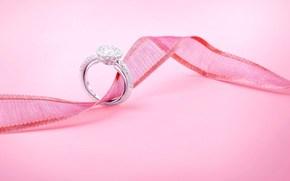 vacances, mariage, mariage, anneau, bijou, dcoration, ruban, rose