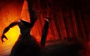 демон, оружие, шлем, меч, рука