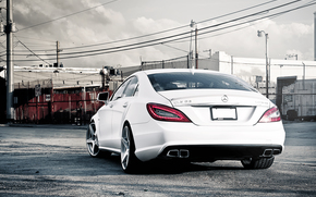 Mercedes Benz, Color blanco, espalda, Mercedes