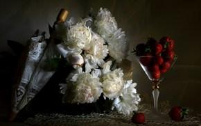 цветы, пионы, белые, ягоды, клубника, зонт