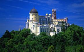 Красивый, дворец, Паласио Да Пена, Португалия, замок, купола, башни, природа, зелёные, деревья, небо