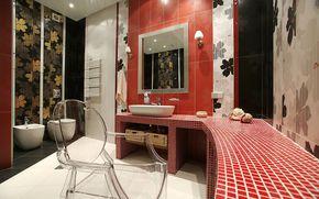 bathroom, room, mirror, WC, tile, Sink, chair
