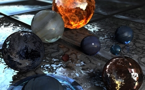 Balls, sphere, solar system, Planet, tile, fire, glass