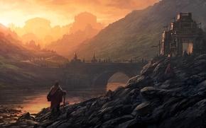 Art, landscape, people, castle, bridge, river, city, Hills, stones, Sunrise