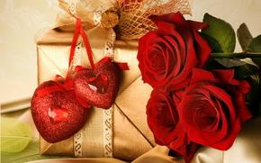 праздник, день святого валентина, день всех влюбленных, любовь, чувства, цветы, розы, красные, подарок, коробка, упаковка, бантик, лента, золото, два сердца, сердечки, пара