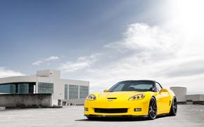 Chevrolet, corveta, amarelo, front-end, cu, nuvens, Chevrolet