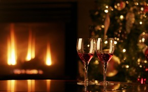 праздник, камин, огонь, уют, елка, бокалы, Новый год