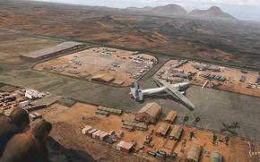 военная база, самолеты, вертолеты, пустыня