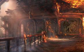 城堡, 火, 房子