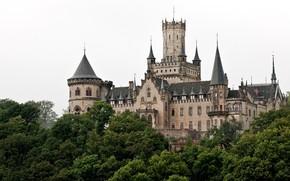 Ганновер, Германия, неоготический, замок, Мариенбург, шпили, башни, деревья