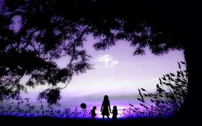 Mama, Tochter, Sohn, bei Sonnenuntergang
